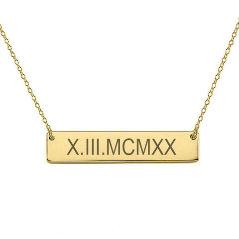 "Roman Numeral bar necklace 1"" inch 18k Gold Plated Bar Necklace Anniversary date necklace Wedding pendant made with 925 silver"