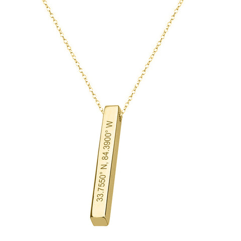 "GPS Coordinates 18k Gold Plated Square Bar Necklace 1"" inch Gold Bar Necklace Latitude Longitude necklace Coordinates made with 925 silver"