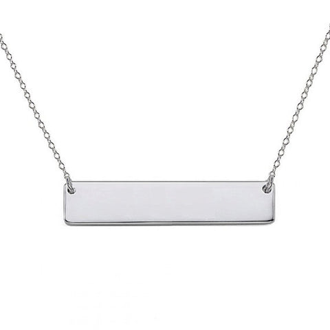 "Silver Nameplate bar necklace 1"" inch Silver Personalize pendant select any Name made with 925 silver"