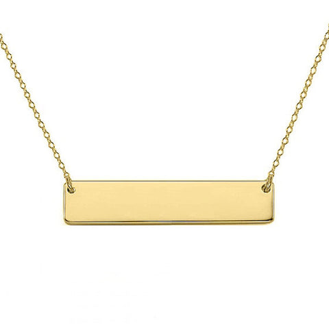 "Gold Nameplate bar necklace 1.5"" inch 18k gold plated Personalize pendant select any Name made with 925 silver"