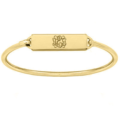 Gold monogram Bar bracelet 18k gold plated pendant select any initial made with 925 silver and gold plated