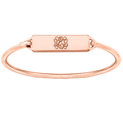 Rose Gold monogram bar bracelet 18k Rose gold plated pendant select any initial made with 925 silver and Rose plated