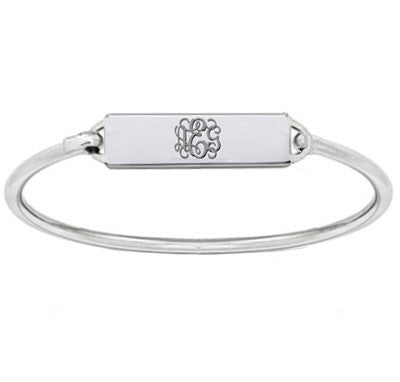 Monogram bar bracelet Silver personalized bangle choose any initial made with 925 sterling silver