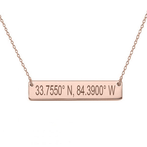"14k Rose Gold Coordinate bar necklace 1"" inch 14k solid Rose gold pendant Personalize nameplate with Latitude or GPS coordinates"