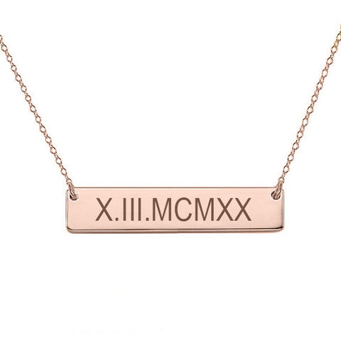 "14k Rose Gold Roman numeral bar necklace 1"" inch 14k solid rose gold pendant Personalize nameplate with Anniversary or birthday dates"
