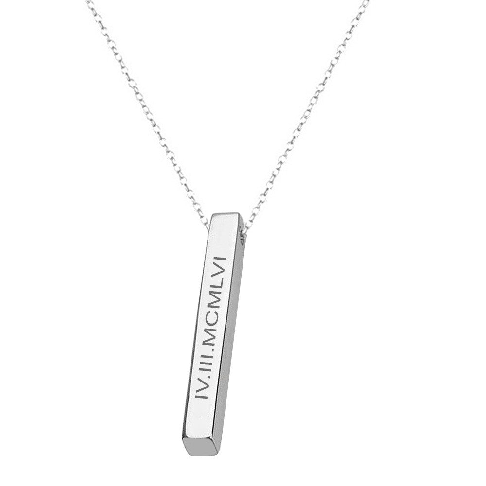 Silver Square Bar Roman Numberal necklace personalized Anniversary date necklace Roman Numeral date necklace due date necklace custom date necklace
