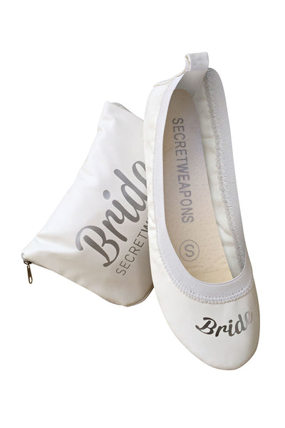 White Bride Fold Up Wedding Ballet Flats