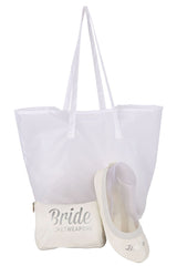 Bride Fold Up Ballet Flats Shoes with Purse