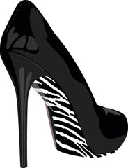 Stiletto Shoe Stickers Zebra