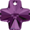 Swarovski Crystal Pendant (Cross) Amethyst 6866 20 MM