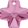 Swarovski Crystal Pendant (Cross) Light Rose 6866 20 MM