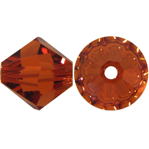 Swarovski Crystal Bead (Bicone) Indian Red 5328 4 MM