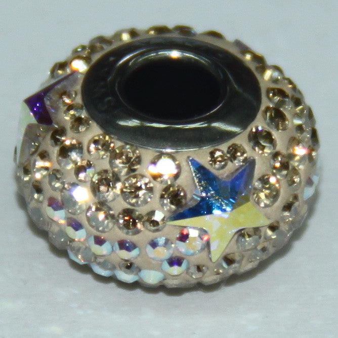 BeCharmed Pavé Shooting Star Crystal Golden Shadow & Crystal AB 81922 / 14 mm Steel