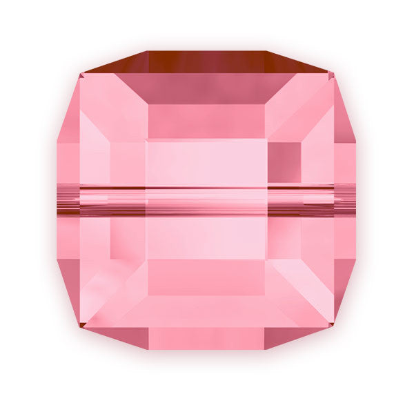 Swarovski Crystal Bead (Cube) Light Rose 5601 8 MM