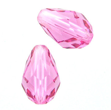 Swarovski Crystal Bead (Pear Drop) Rose 5500 9 X 6 MM