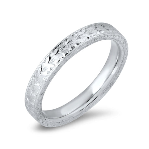 Engraved White Gold Band