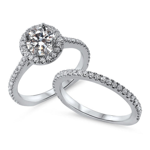 White Gold Round Diamond Halo Wedding Set