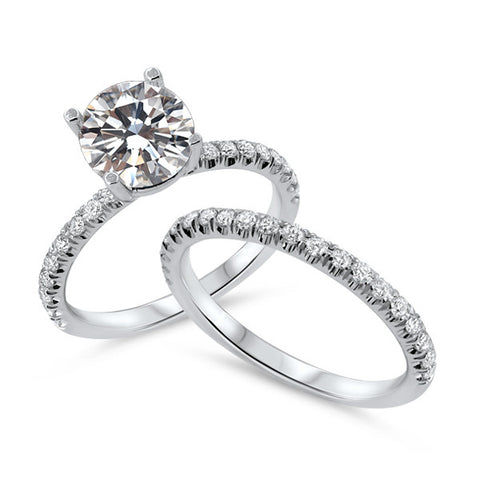 1 Carat Round Diamond Wedding Set