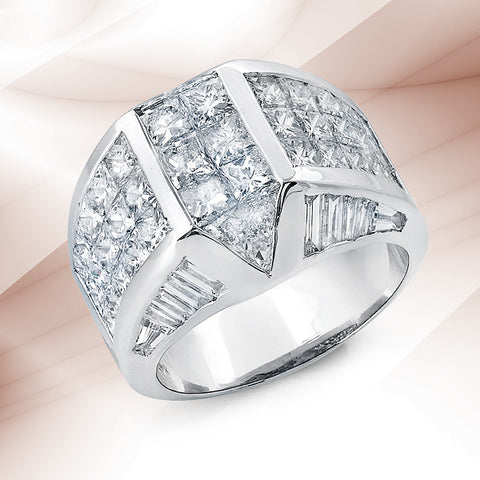 14k White Gold Diamond Invisible Set Cocktail Ring