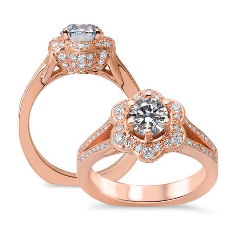 14K Rose Gold Round Diamond Flower Engagement Ring