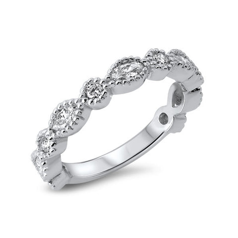 14K White Gold Marquee and Round Diamond Band