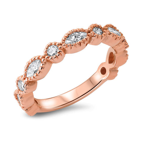 14K Rose Gold Marquee and Round Diamond Band