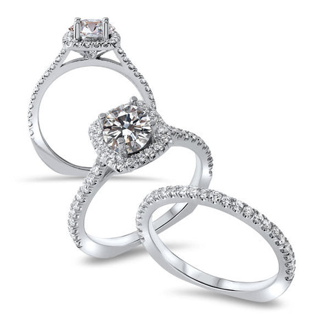 14K White Gold Cushion Diamond Halo Wedding Set
