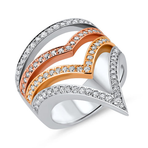 Multi Metal Diamond Cocktail Ring
