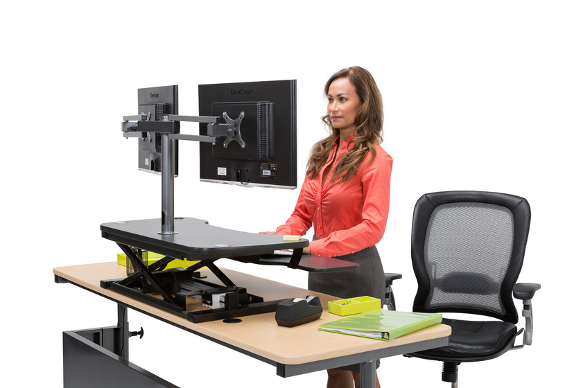 Dual LCD Spider Monitor Arm - Standing Desk Converter - 3