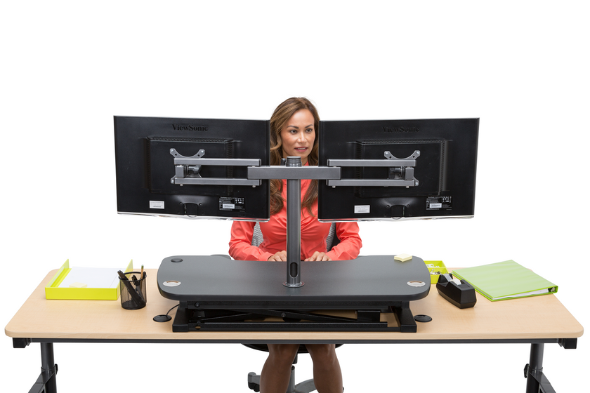 Dual LCD Spider Monitor Arm - Standing Desk Converter - 2