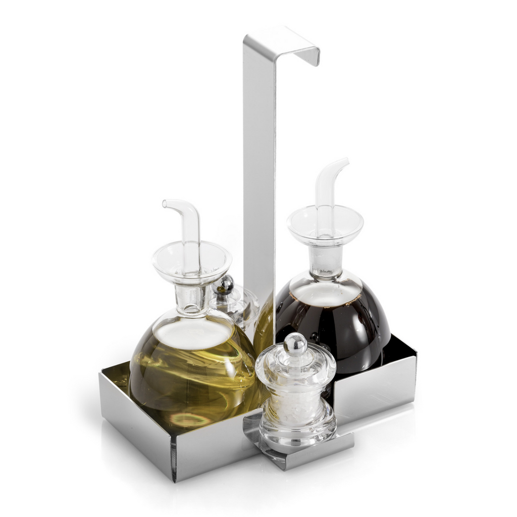 stainless steel oil and vinegar condiment holder caddy set with  - stainless steel oil and vinegar condiment holder caddy set with bottledispenser cruets and salt and pepper grinder shakers elleffe design