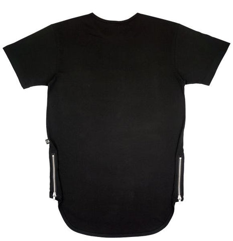 Black Side Zipper Long Tee