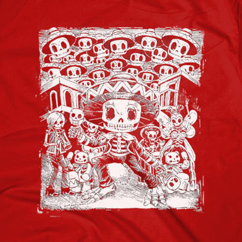 Mariachi Skeleton Red T-shirt