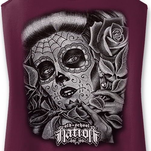 Tattoo Face Ladies' Maroon Tank