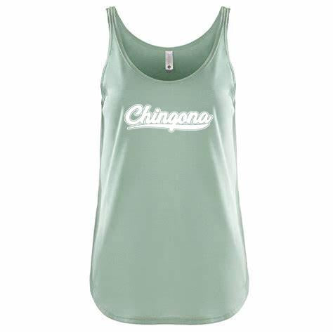 Chingona Scoop Neck Tank Antique Stone Wash Green