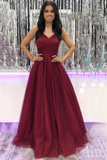 Simple v neck tulle burgundy long prom dress burgundy evening dress