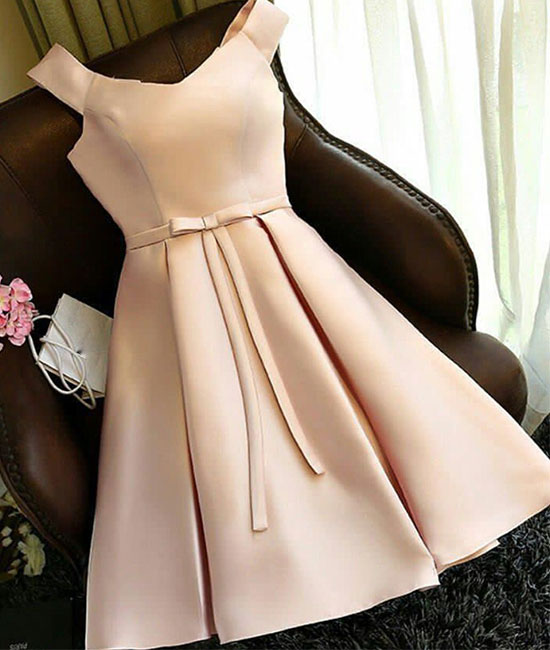champagne satin short prom dress, cute homecoming dress - shdress