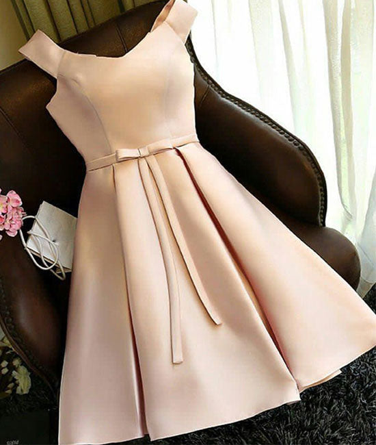 champagne satin short prom dress, cute homecoming dress