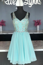 Green chiffon beads short prom dress green homecoming dress