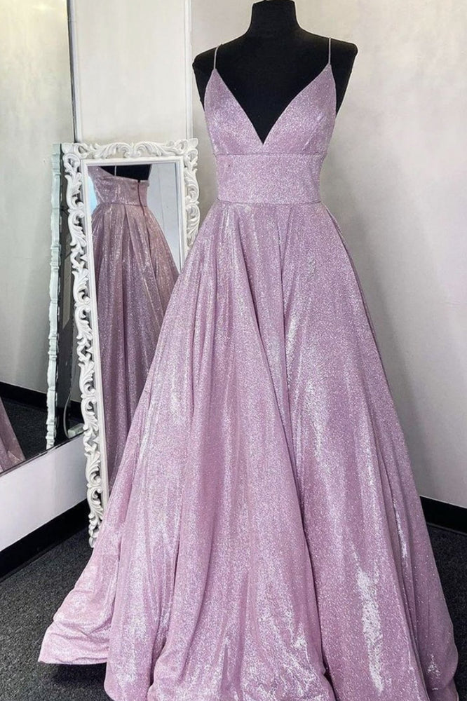 Simple v neck A-line long prom dress sequin evening dress