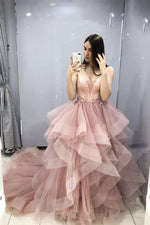 Pink v neck tulle long prom dress pink sweet 16 dress