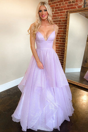 Purple v neck tulle long prom dress purple formal dress