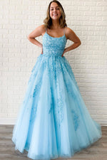 Blue sweetheart lace tulle long prom dress blue lace evening dress