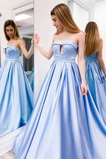 Simple blue satin long prom dress blue evening dress