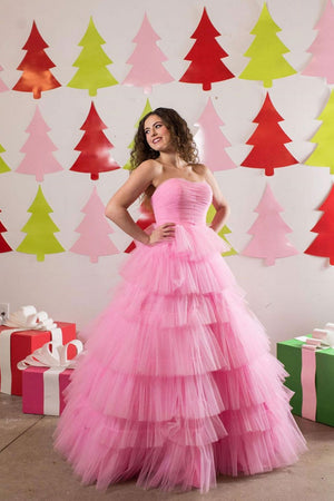 Pink sweetheart tulle long prom dress pink sweet 16 dress