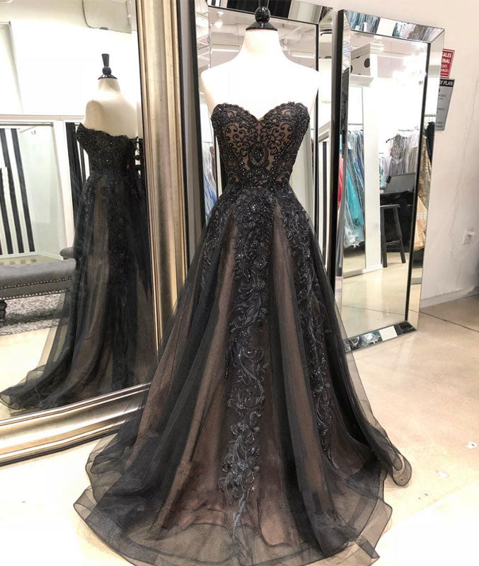 Black sweetheart neck tulle lace long prom dress, black evening dress - shdress