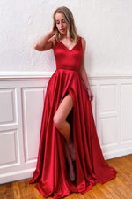Simple v neck satin burgundy long prom dress formal dress