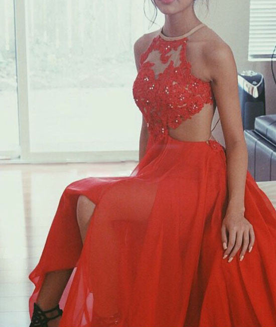 A-line Red Lace Backless Long Prom Dress,Evening Dress