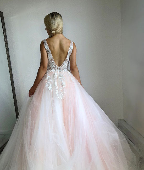 Pink v neck tulle lace long prom dress, pink evening dress - shdress