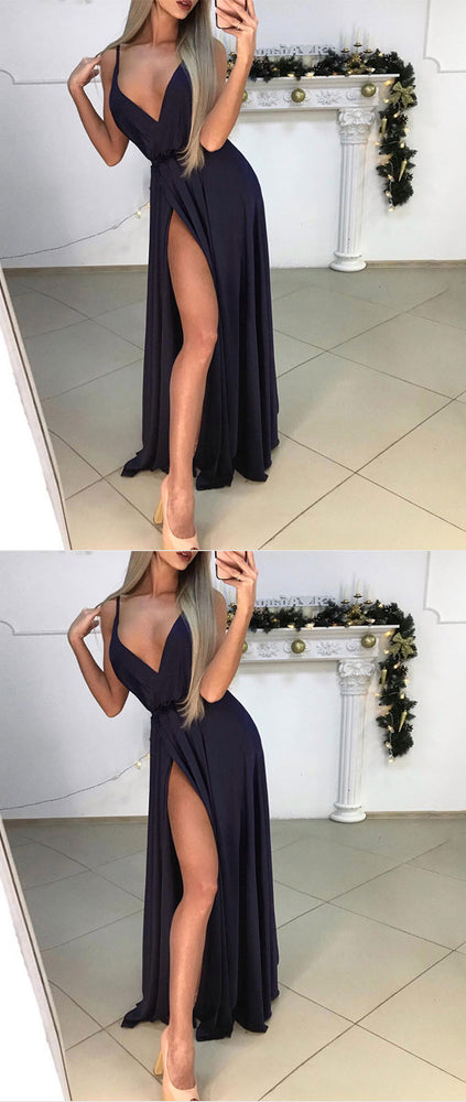 Simple dark blue v neck satin long prom dress, dark blue evening dress - shdress